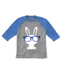 Heather Gray & Blue Glasses Bunny Raglan Tee