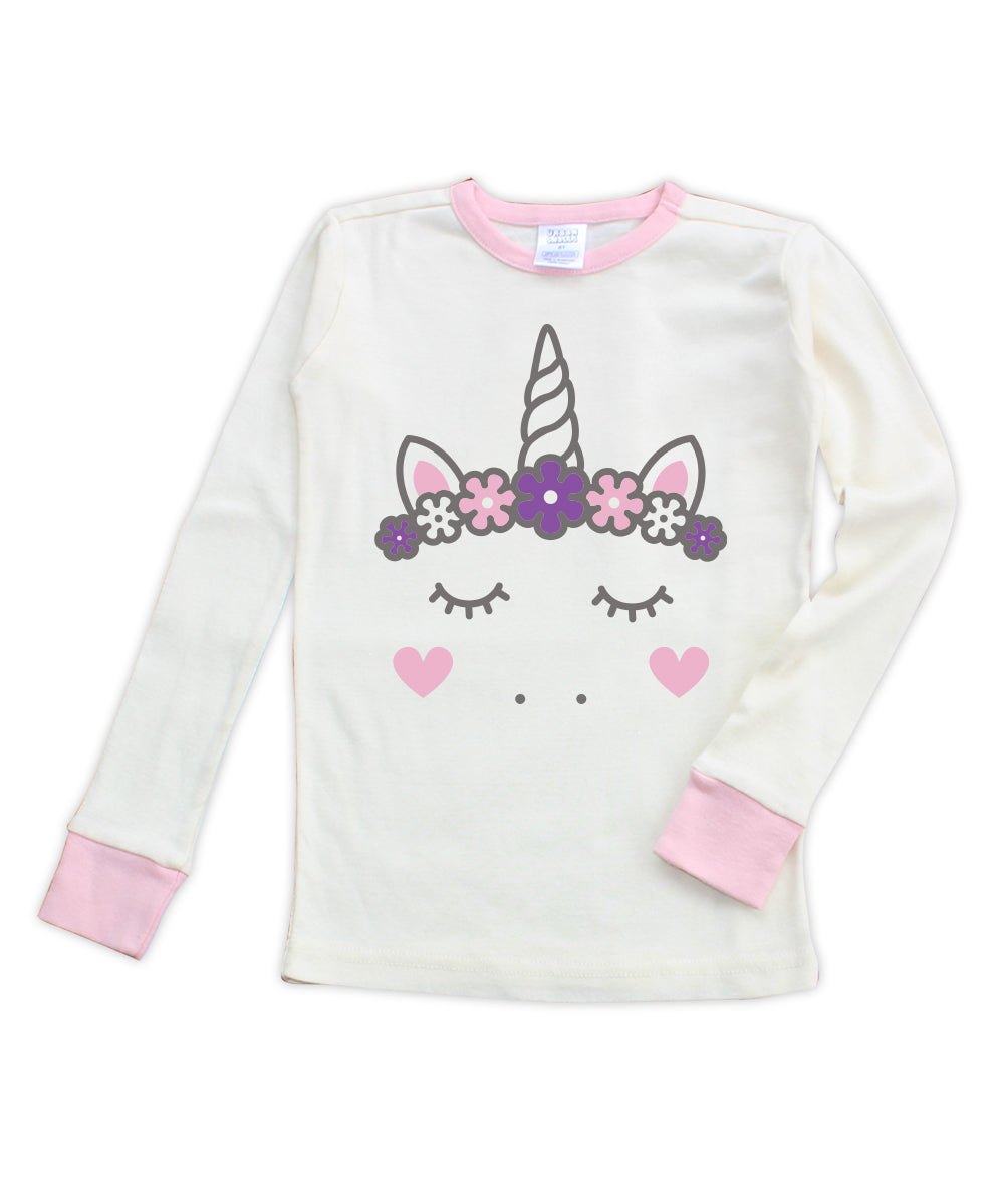 Cream & Pink Unicorn Long-Sleeve Pajama Top
