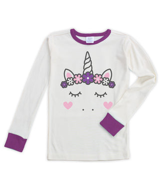 Cream & Purple Unicorn Long-Sleeve Pajama Top