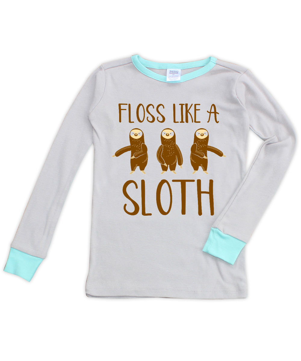 Gray & Aqua 'Floss Like a Sloth' Long-Sleeve Pajama Top
