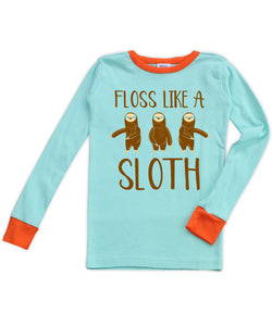 Aqua & Orange 'Floss Like a Sloth' Long-Sleeve Pajama Top