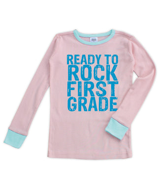 Pink & Aqua 'Ready to Rock First Grade' Long-Sleeve Pajama Top