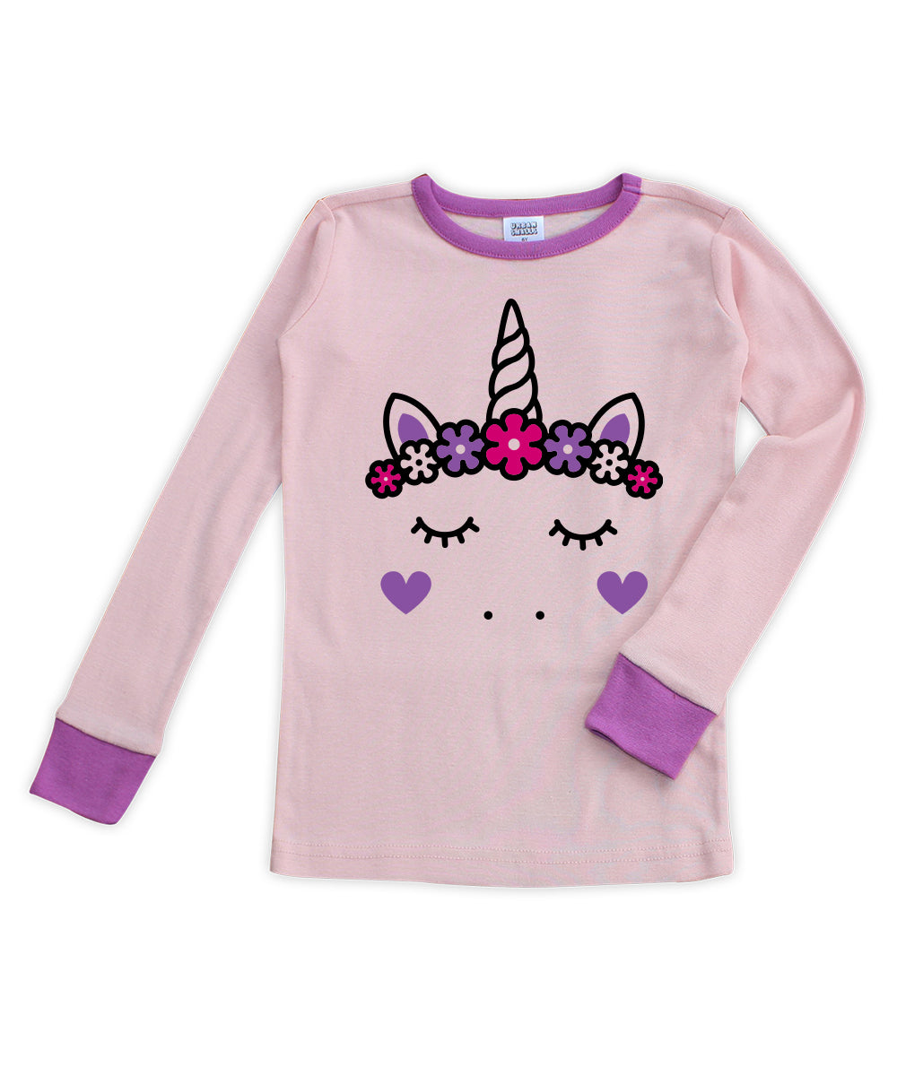 Pink & Purple Unicorn Long-Sleeve Pajama Top
