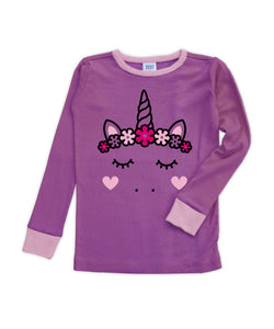 Purple & Pink Unicorn Long-Sleeve Pajama Top