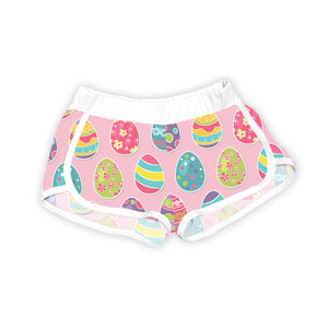 Light Pink & White Festive Eggs Shorts