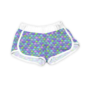 Lavender & Green Mermaid Scales Shorts