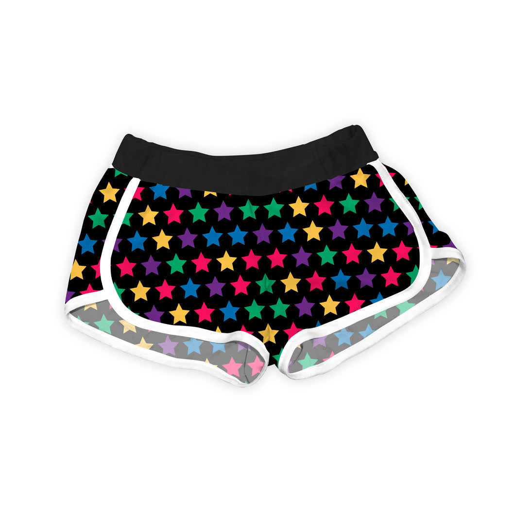Black & Rainbow Stars Shorts
