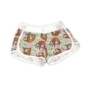 Light Gray Floral Happy Sloth Shorts