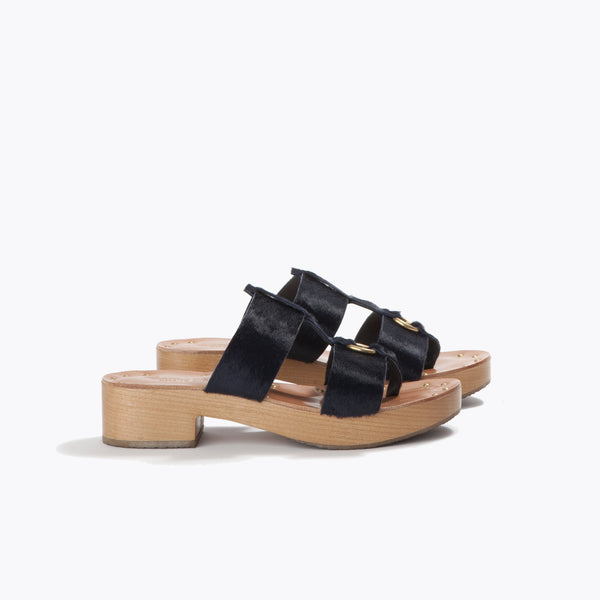 Topanga Clog <span>Black Haircalf</span>