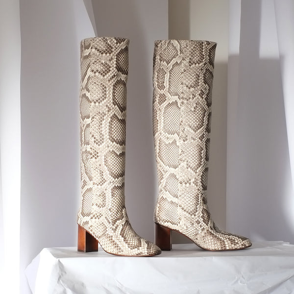 Point Dume Knee Boot<span> Natural Snake</span>