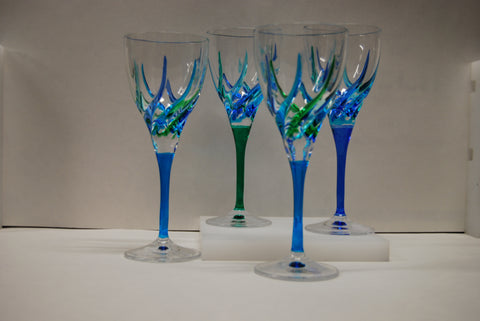 Murano Glass Trix Wine Glass Blue & Teal - Sold Per Glass