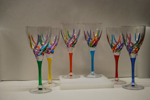 Murano Glass Trix Multi Color Wine Glass - Sold Per Glass