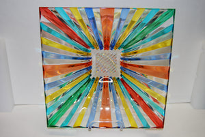 Murano Glass Strip Square Multi Color Bowl