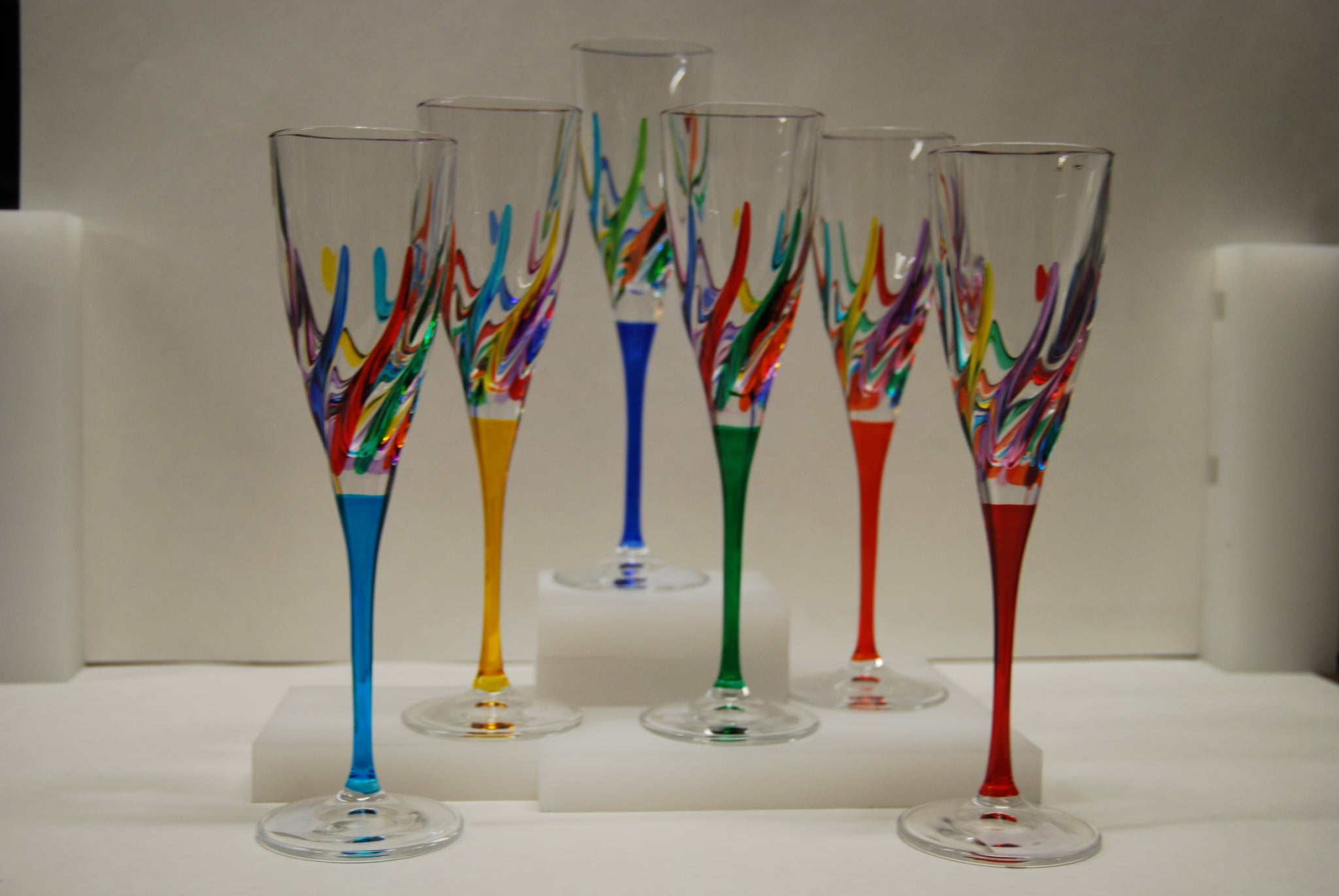 Murano Glass Trix Multi Color Champagne Glass - Sold Per Glass