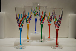Murano Glass Trix Multi Color Champagne Glass