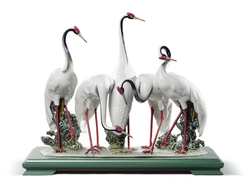 Lladro Flock of Cranes Sculpture. Limited Edition