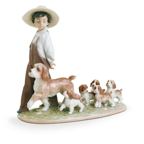 Lladro My Little Explorers Boy with Dogs