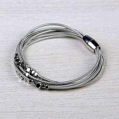 Layered Harp String Bracelet - Silver & Black