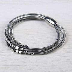 Layered Black and Siver w/ Beads Harp String Bracelet