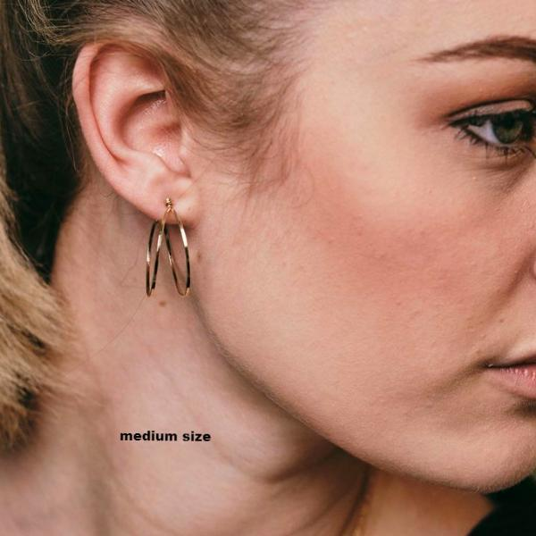 Forged Double Hoop Post Earrings-3 Sizes