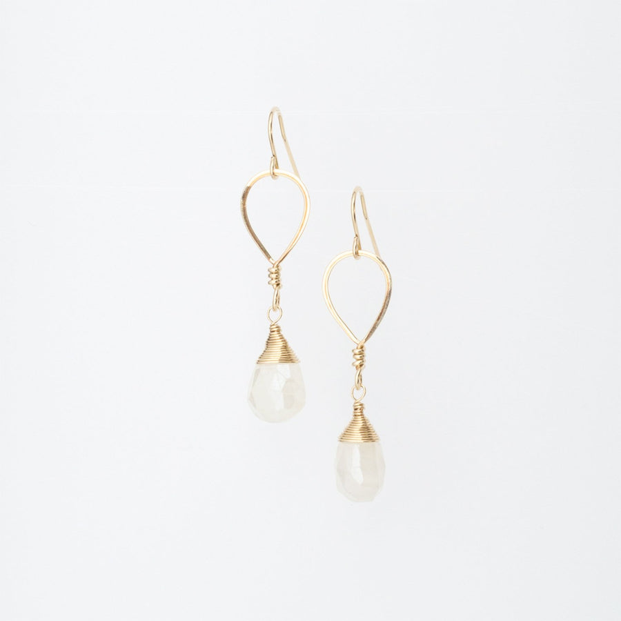 14K Gold Forged Inverted Drop Pearl Chalcedony Teardrop Earrings