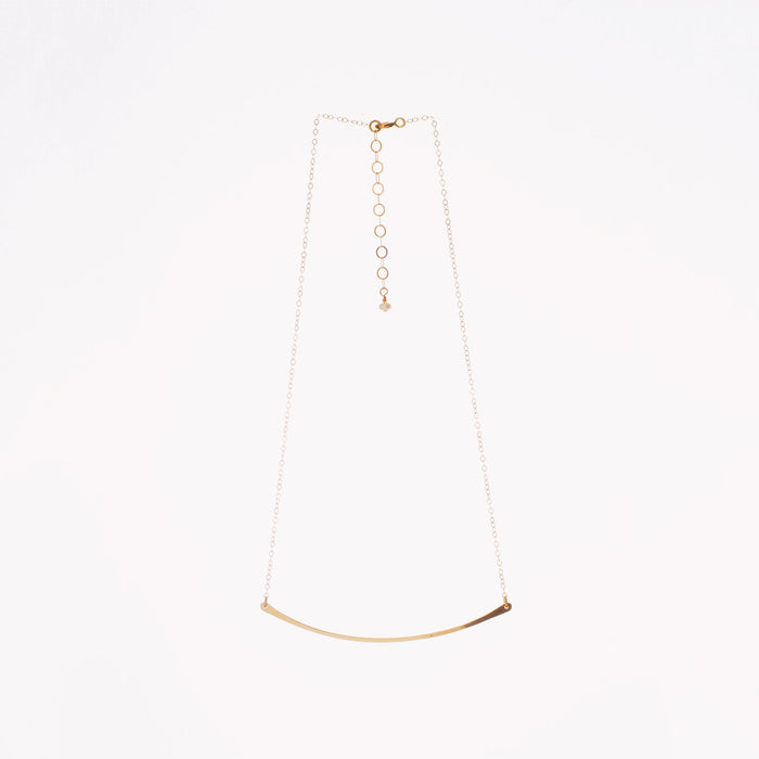 14K Gold Hand-Forged Large Curved Bar Necklace