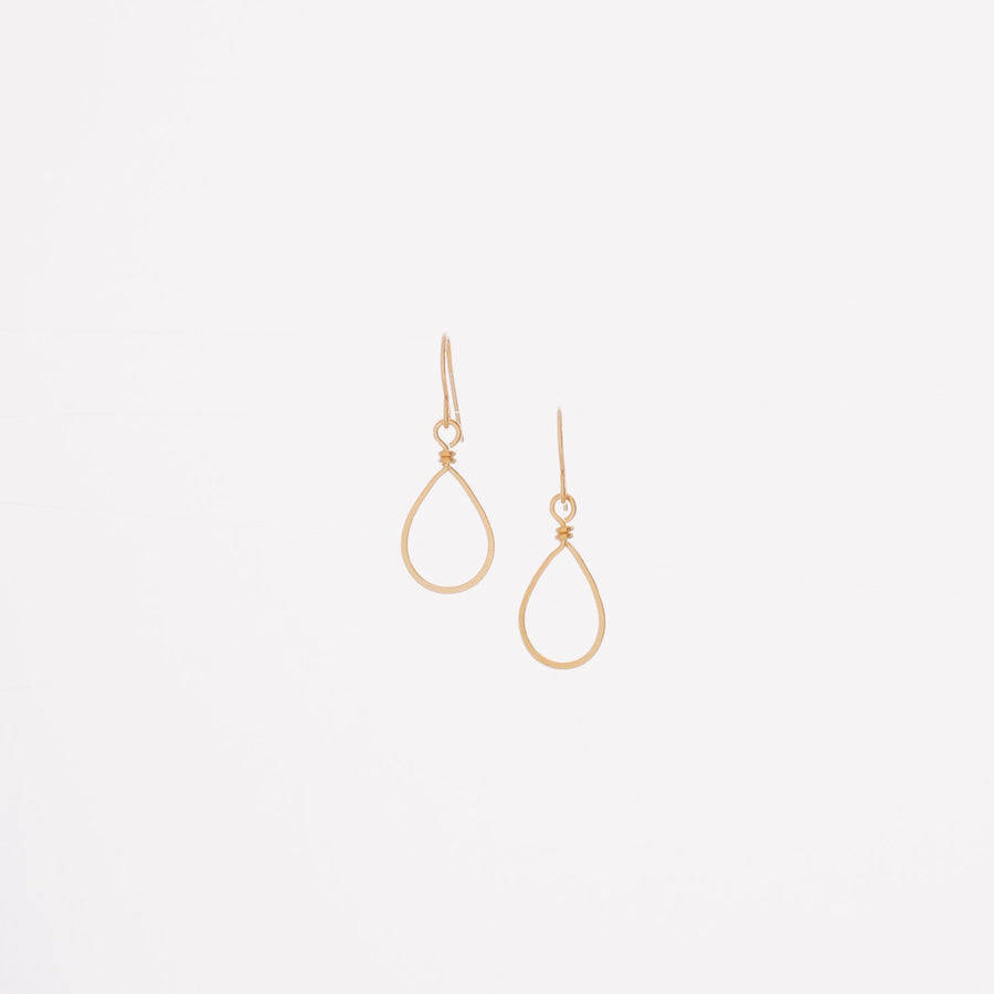Small 14K Gold Forged Teardrop Earrings