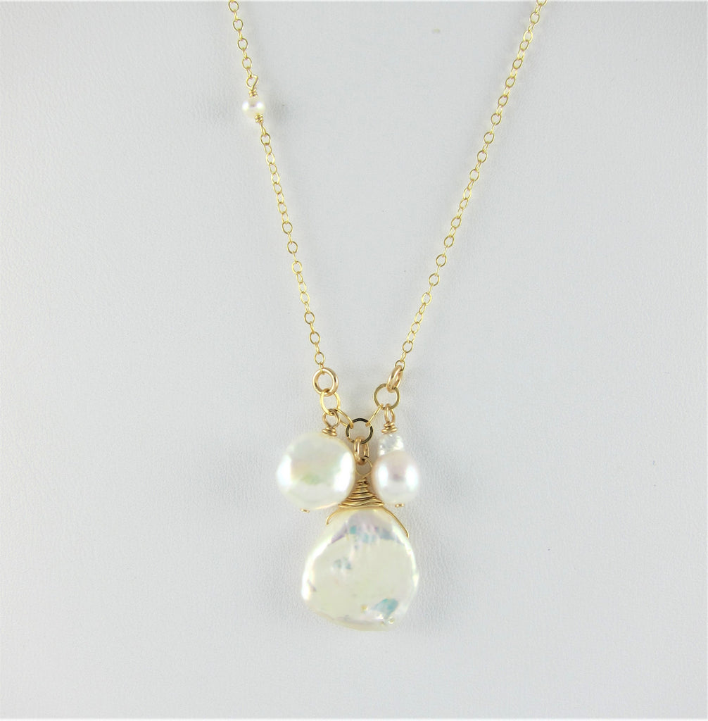 3 pearl necklace on 14k gf chain.
