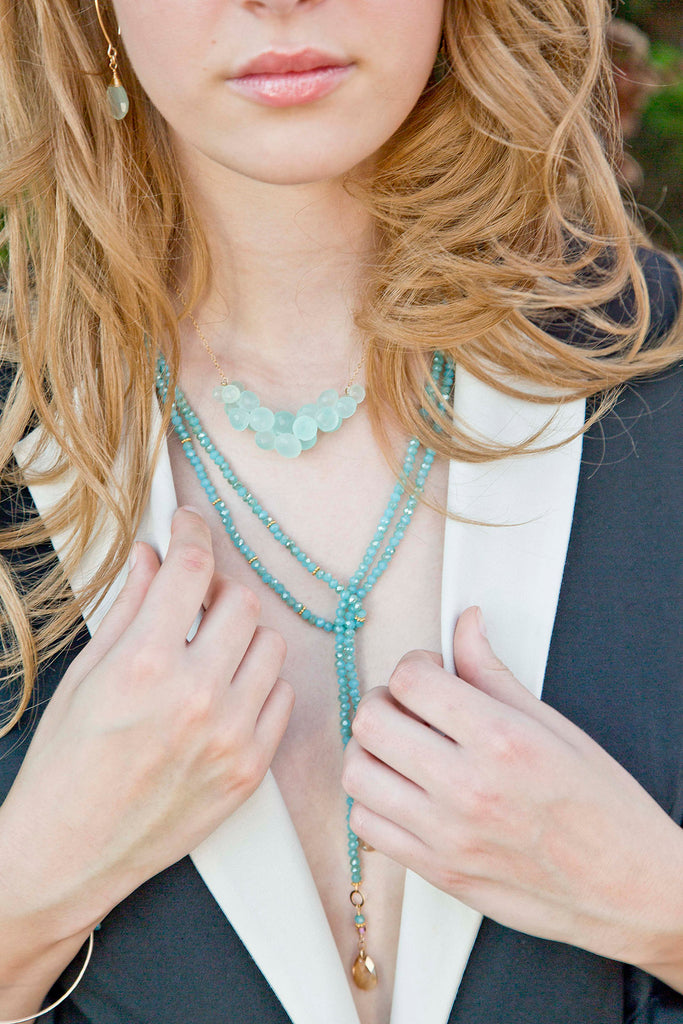 Aqua & Gold Crystal Lariat Necklace