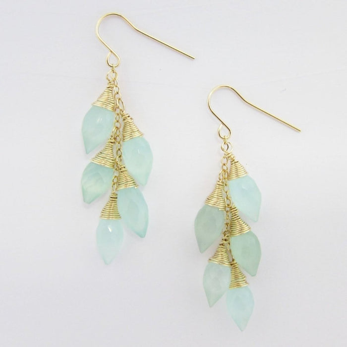 Aqua Chalcedony Marquis Cluster Earrings