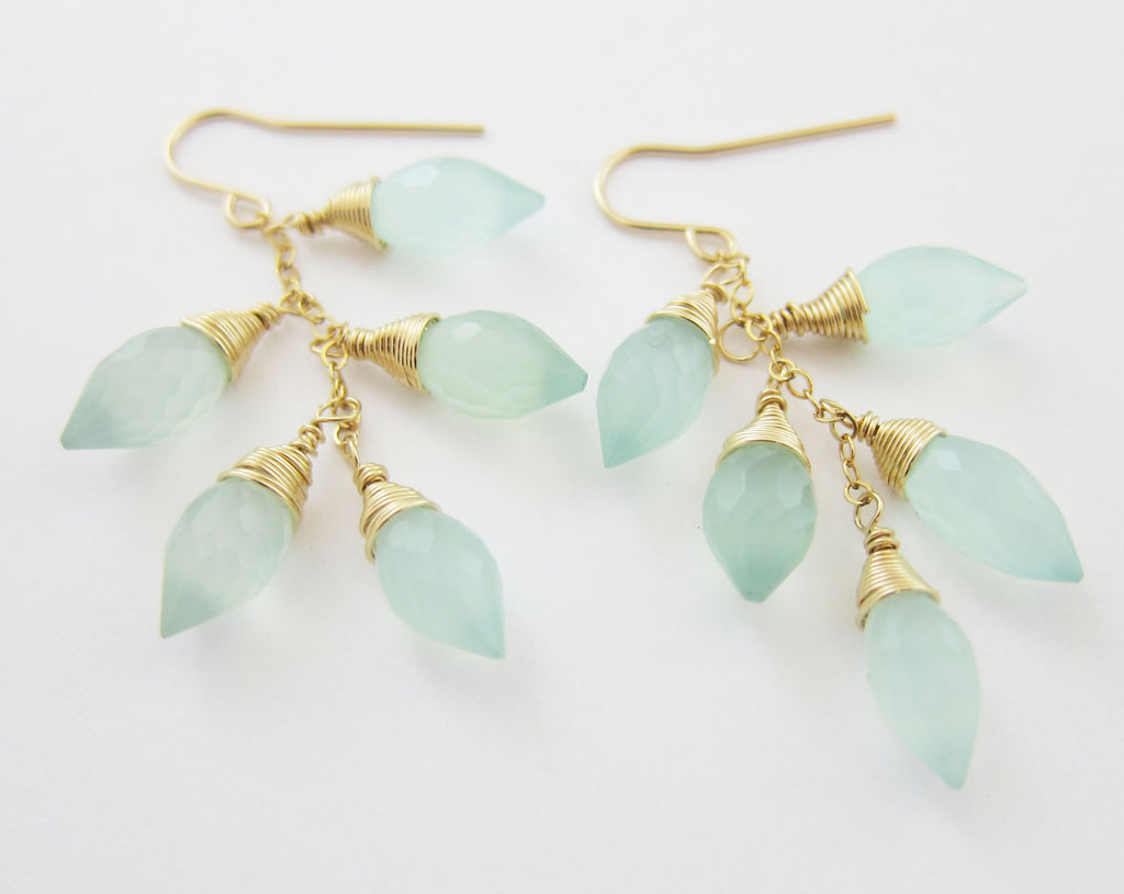 Aqua Chalcedony Earrings Marquis Cluster