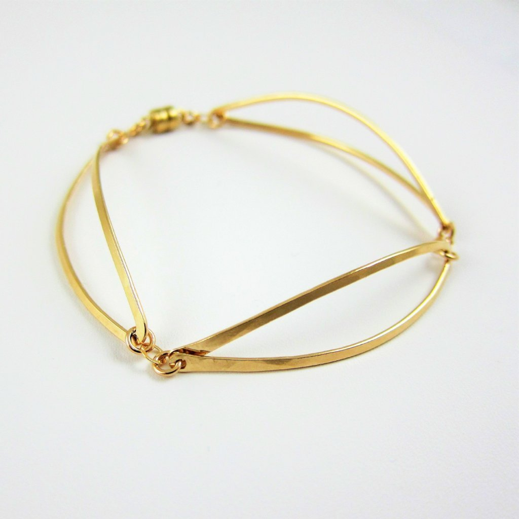 Forged 14k Gold Filled 3 Curved Marquis Link Bracelet with Magnetic Clasp