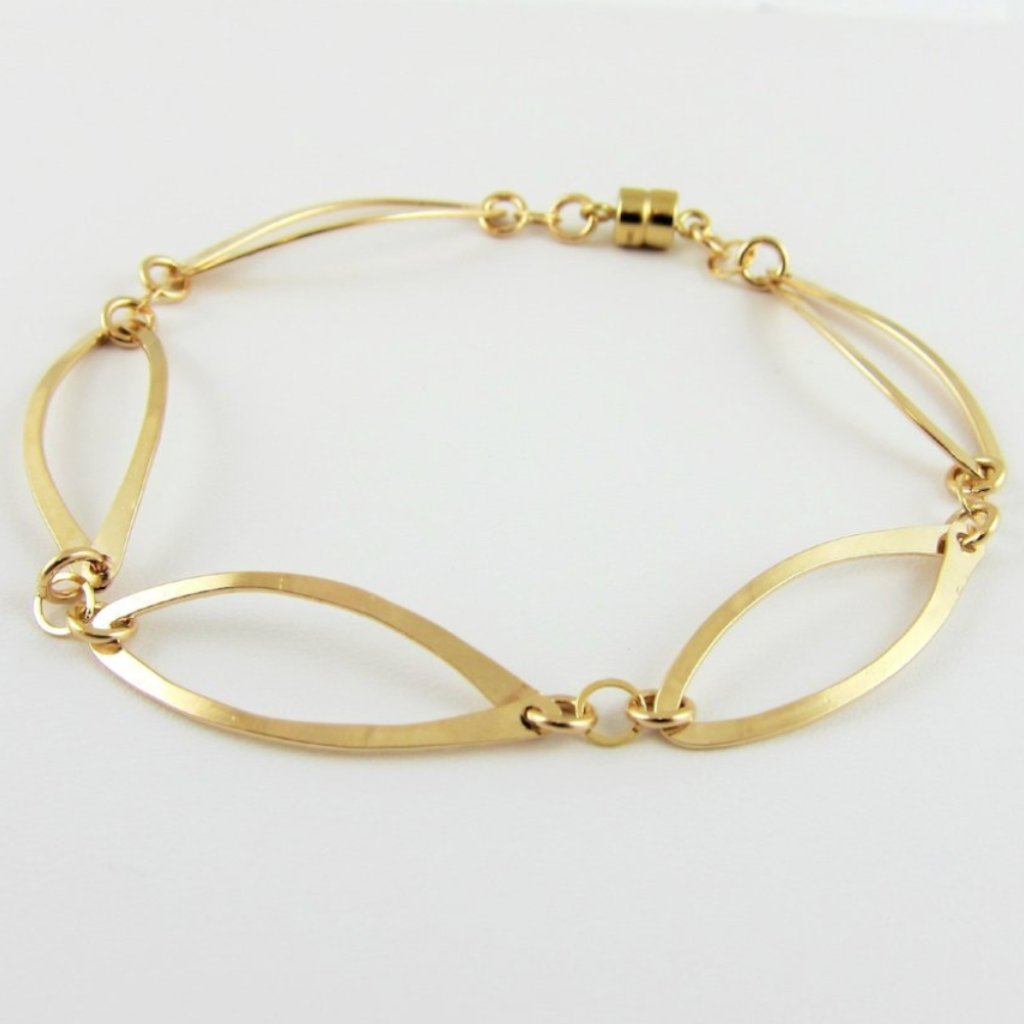 Forged 14k Gold Filled 5 Curved Marquis Link Bracelet with Magnetic Clasp