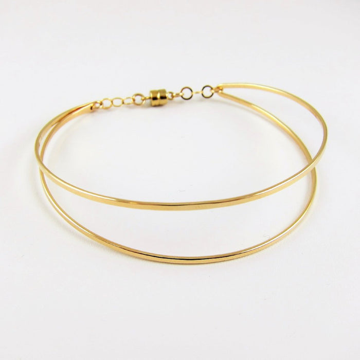 Forged 14k Gold-Filled Double Bar Cuff Bracelet with Magnetic Clasp