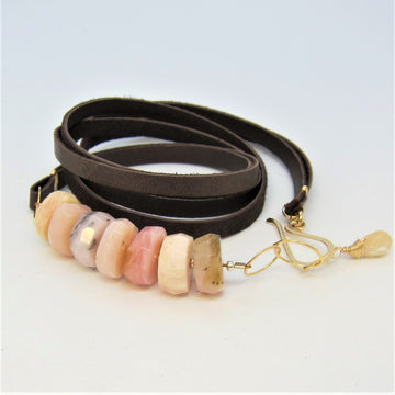 Peruvian Pink Opal and Leather Bracelet/Necklace Combo