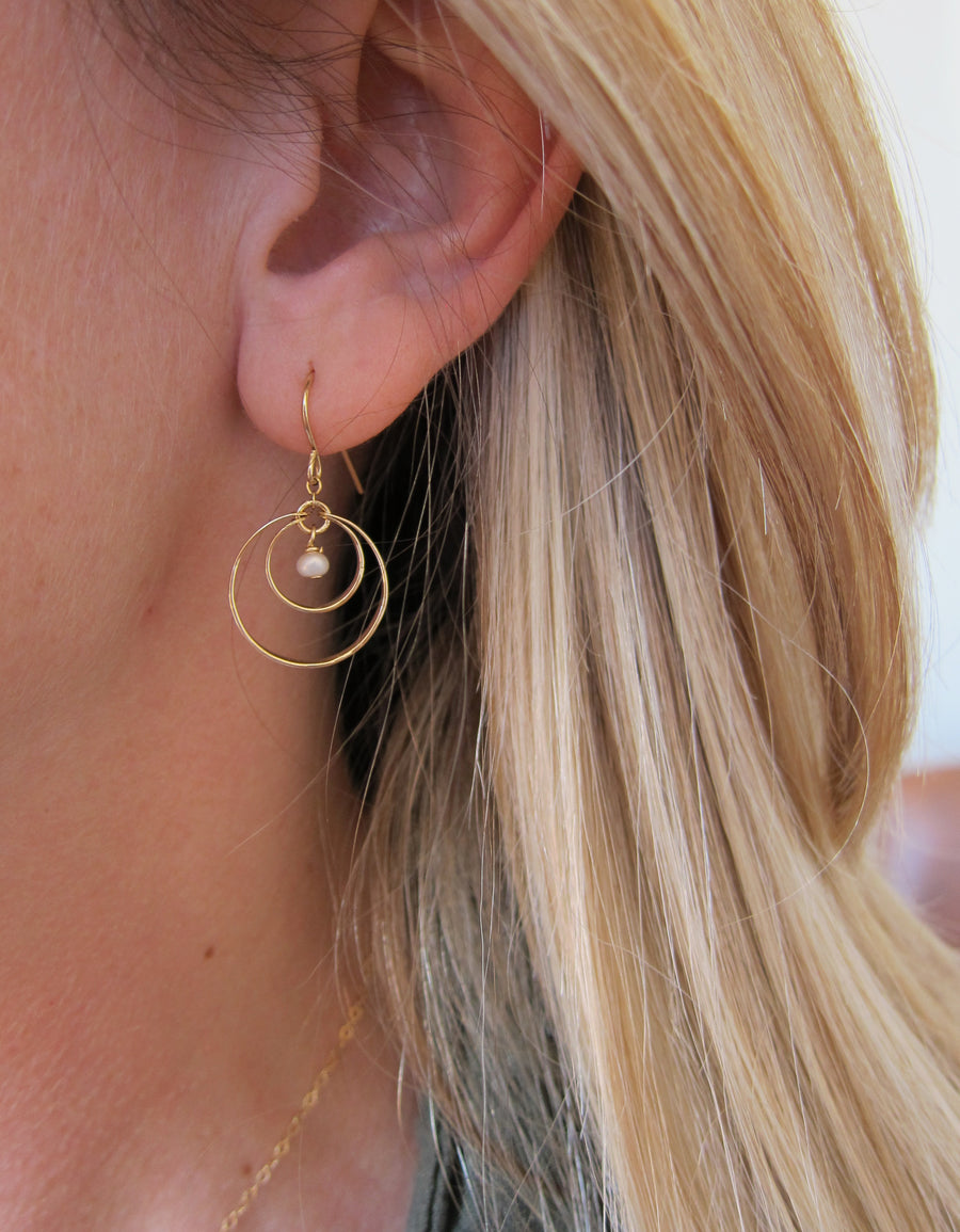 Forged double circle earring with pearl center
