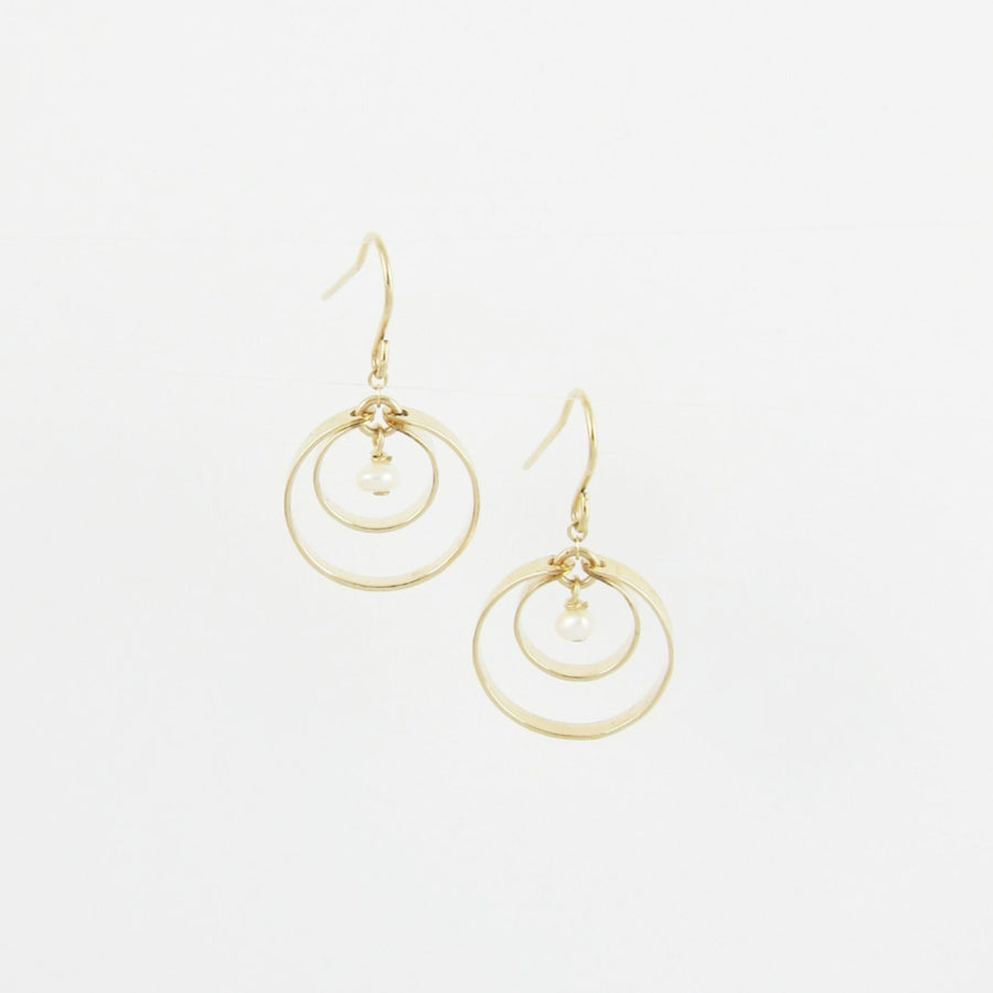 14K Gold Forged double circle earring with pearl center