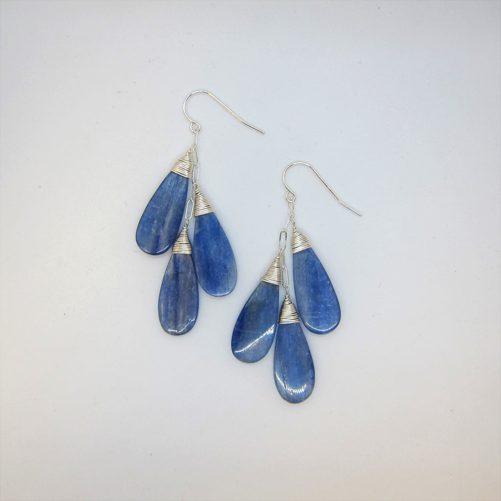 Triple Kyanite Teardrop Earrings