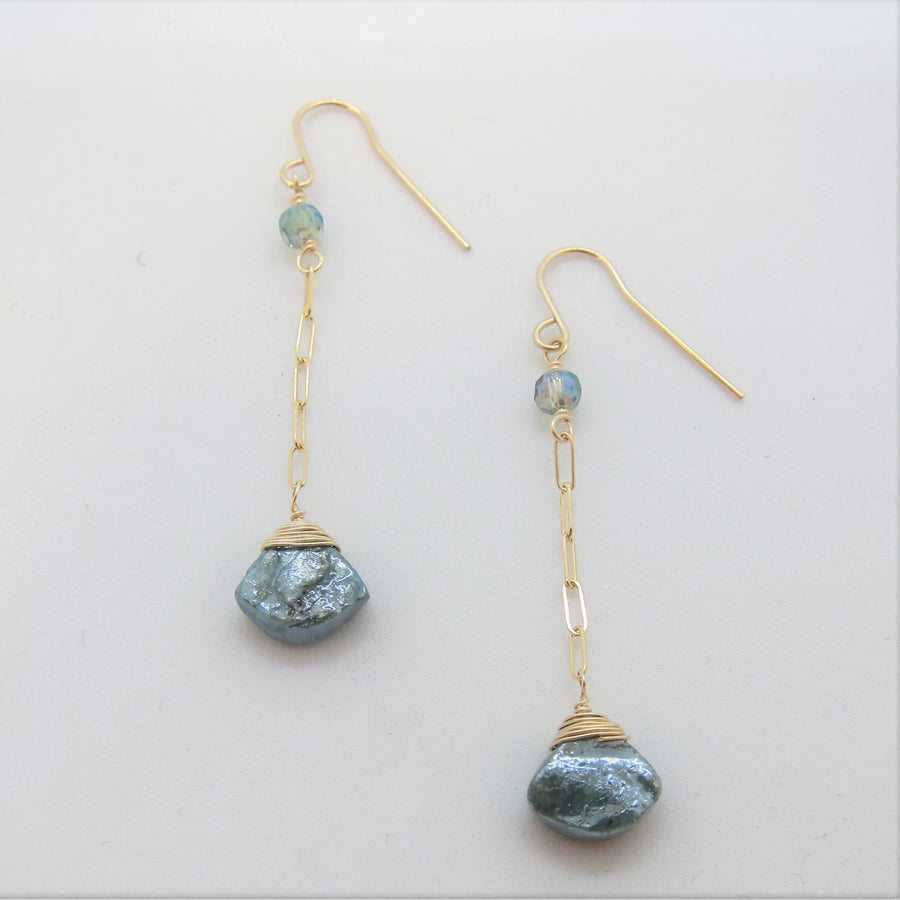 Mystic Apatite and Chain Earrings