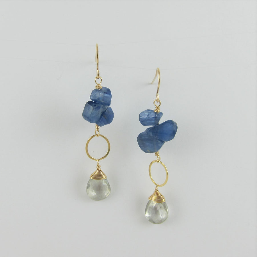 Kyanite and Grey Quartz Earrings