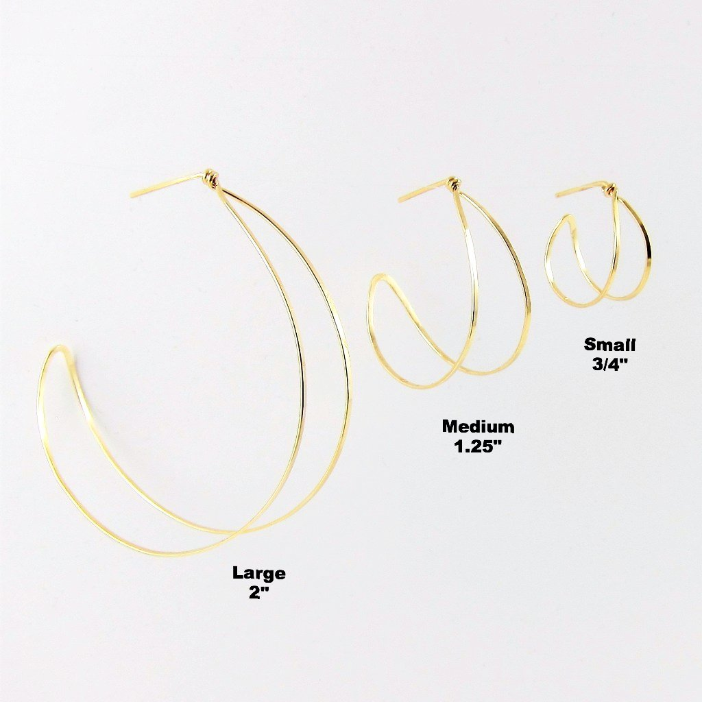 Forged 14k Gold Filled Post Double Hoop Earrings-3 sizes