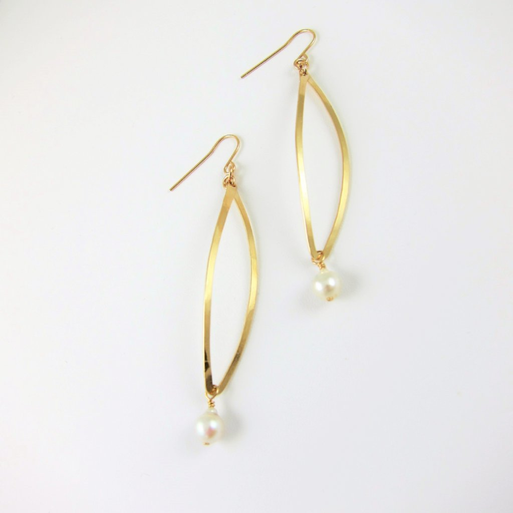 Forged 14k Gold Filled Curved Marquis Link Earring with Baby Baroque Pearl Drop