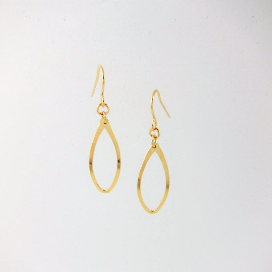 Forged 14k Gold Filled Small Curved Marquis Link Earring