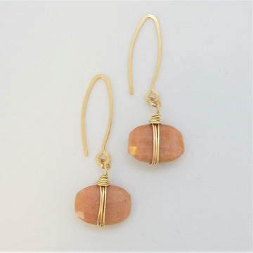 Faceted Cushion Cut Pink Opal Earrings