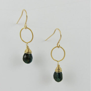 Green Labradorite Single Drop Earring