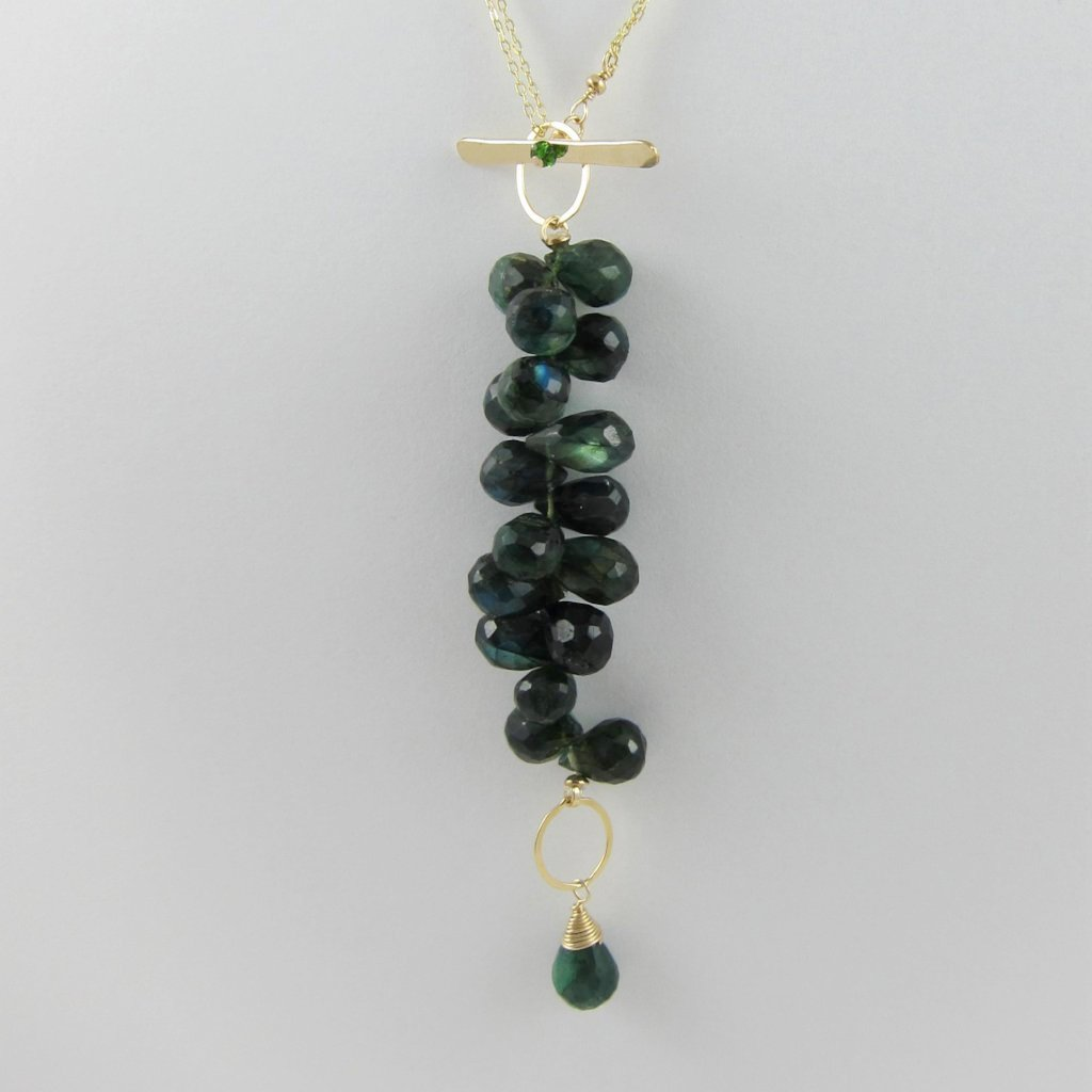 Green Labradorite Cluster 3 in 1 Necklace