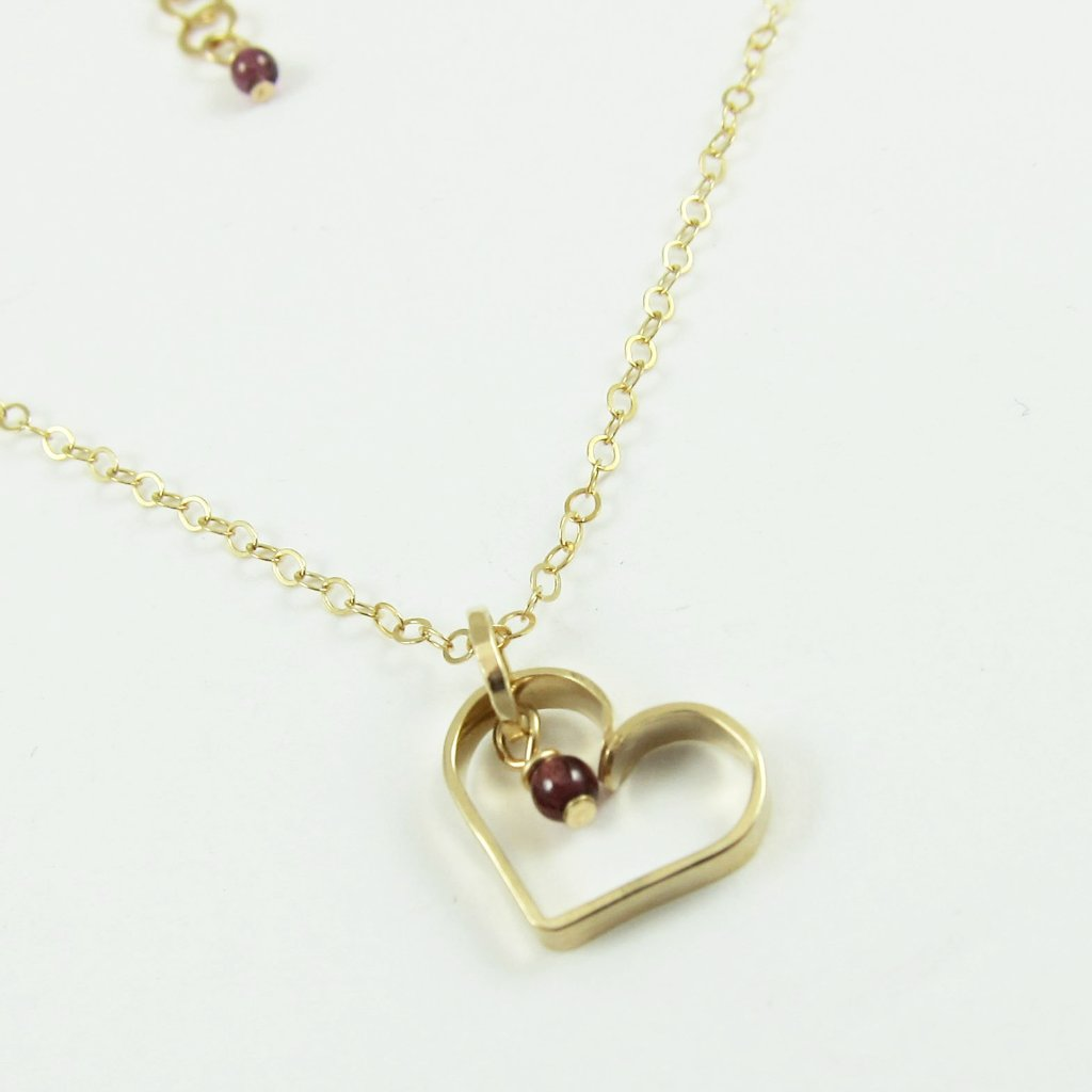 Forged 14k gold filled heart with pearl necklace