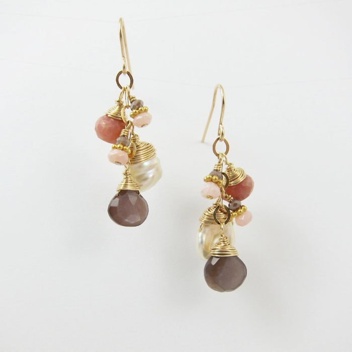 Neapolitan Pearl and Gemstone Earrings