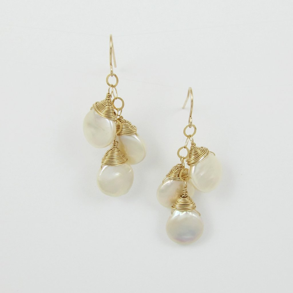 earrings-3 keishi pearls cascade on 14k gold filled chain