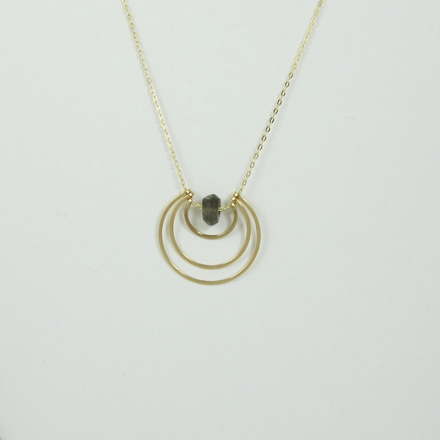 Forged 14k Gold Filled Triple Crescent Necklace with Labradorite Center
